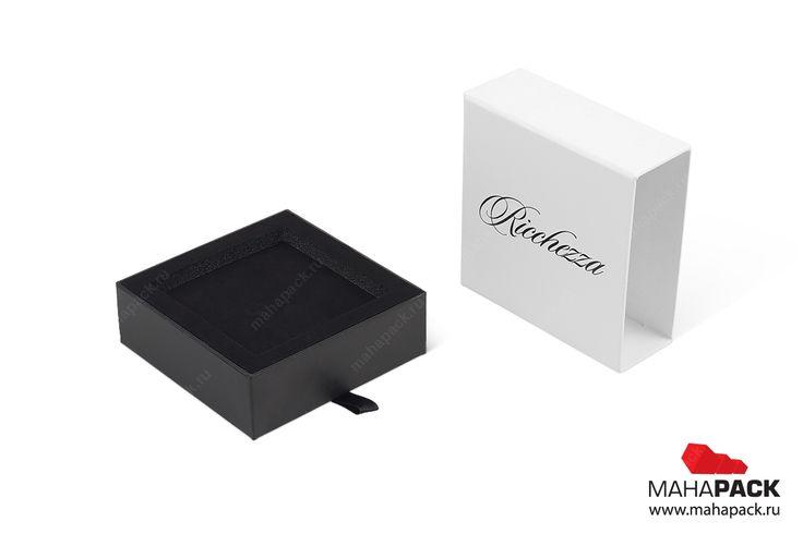 Комплект: коробка-пенал в пакете для обручальных и помолвочного колец под заказ