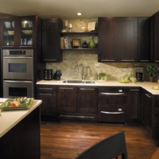 Beau Kitchen Inspiration, Brown Cabinets, Light Counter Tops, Shelves Above The  Sink