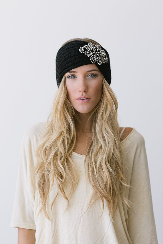 Boho Knitted Headband Black Knit Turband Bohemian Free Spirited Accessories Women's Fashion Hair Bands Head Wraps in Black