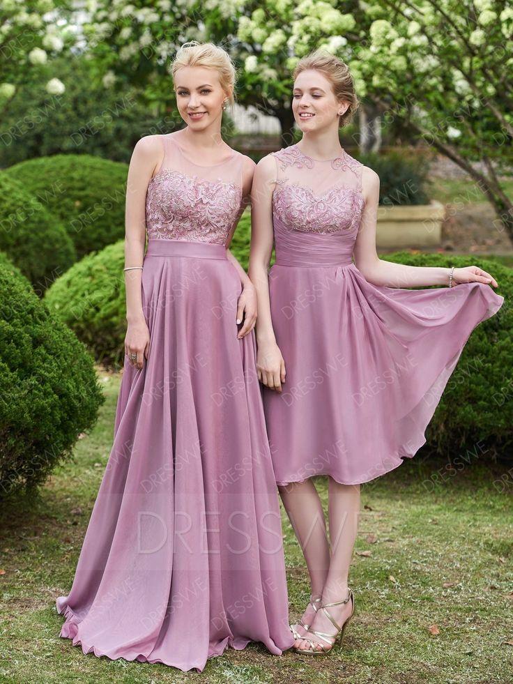 Beautiful Lace Button A-Line Knee-Length Bridesmaid Dress