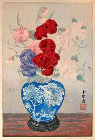 hanga gallery . . . torii gallery: Sweetpeas in Blue Vase by Yoshijiro Urushibara
