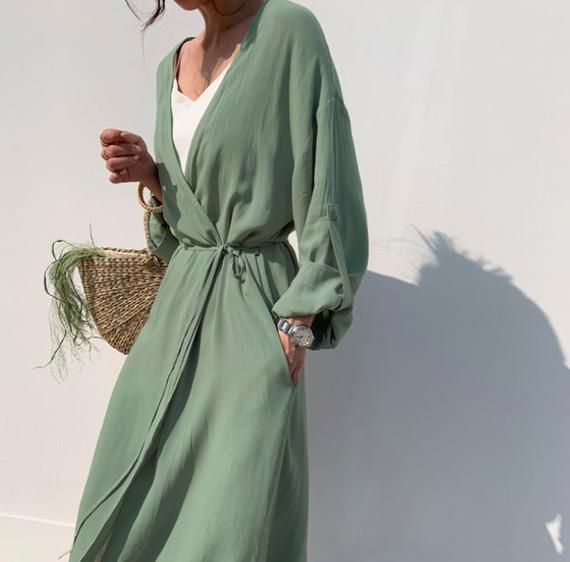 Cotton maxi cardigan / Cotton loose jacket with pockets / Cotton long robe / plus size cardigan / Cotton summer cardigan / Kimono
