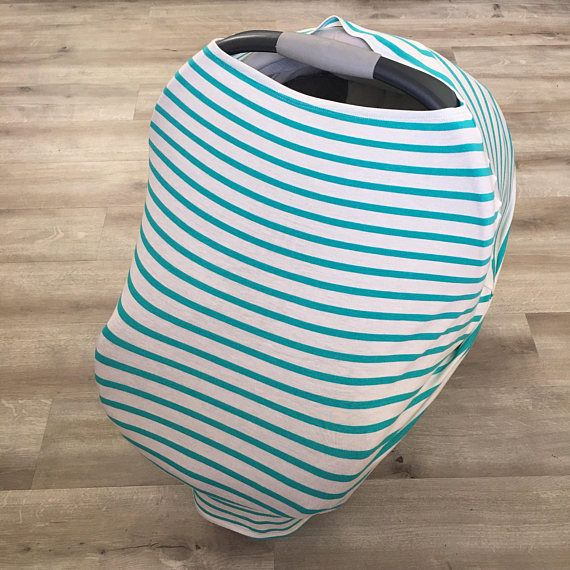 Teal stripe multi use stretchy car seat cover nursing cover