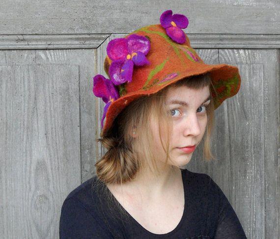 Felted unique hat designer hat boho fashion wool hat by filcAlki