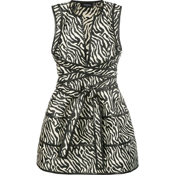 Dsquared2 animal print plunge dress ($1,455) ❤ liked on Polyvore featuring dresses, black, long skater skirt, plunge wrap dress, long day dresses, long dresses and long circle skirt