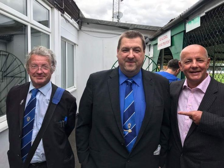 Lowestoft Town Directos znd Lord Russell Baker arriving at Leatherhead FC and making their way to the Directors lounge on Saturday 12th August for the opening Bostik Premier League match for season 2017-18.