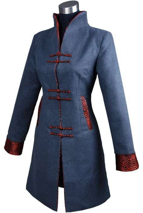 #idreammart Periwing V Collar Long Sleeves Cashmere Extended Chinese Jacket - iDreamMart.com