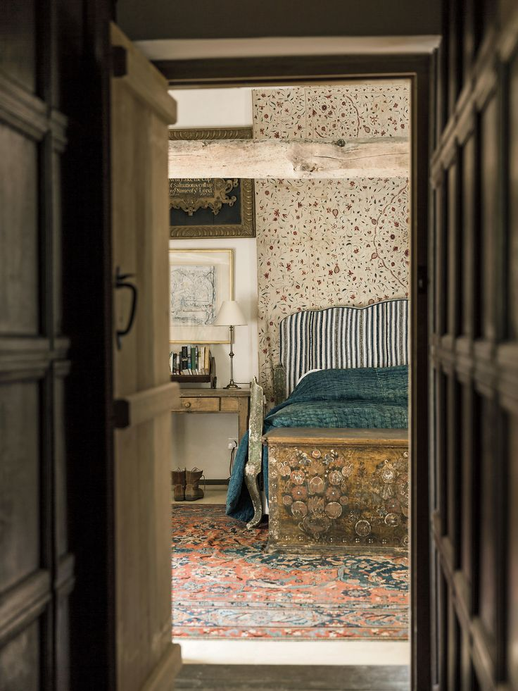 For England's most revered interior designer, a humble farmhouse is an ideal respite from his urbane London apartment.
