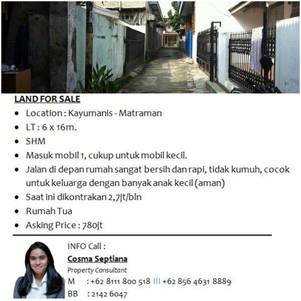 LAND (RUMAH TUA) FOR SALE - Location : Kayumanis - Matraman - LT : 6 x 16m. - SHM - Masuk mobil 1, cukup untuk mobil kecil. - Jalan di depan rumah sangat bersih dan rapi, tidak kumuh, cocok untuk keluarga dengan banyak anak kecil (aman) - Saat ini dikontrakan 2,7jt/bln  - Rumah Tua - Asking Price : 780jt  INFO call Cosma 0811-1800-518 #house_sale #landforsale #land_for_sale #houseforsale #house #sale #lebakbulus #jakarta #indonesia #jakartaselatan #jakarta_selatan #jakartatimur…