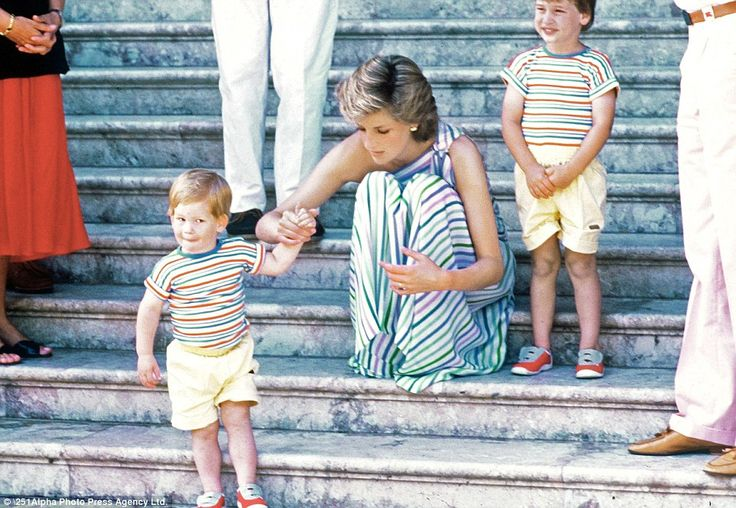 Family holiday: Princess Diana holds the hand of Prince Harry as Prince William looks on during a family trip to Majorca in Spain