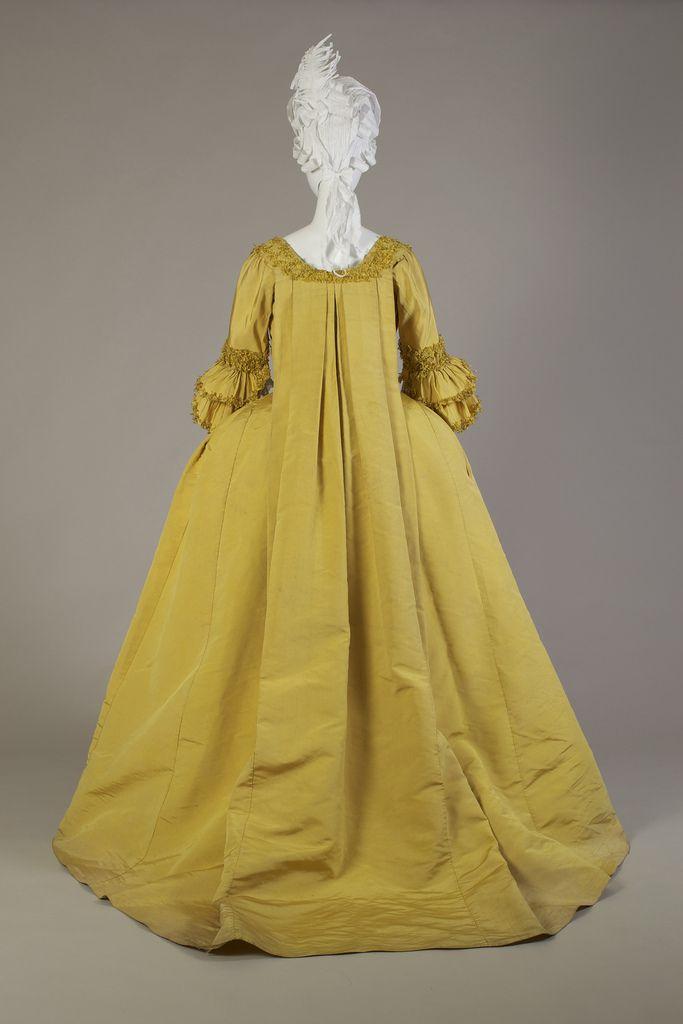 Yellow silk robe à la française, ca. 1760-1779   by KSU Museum (back view) 1983.1.8ab.3QBack
