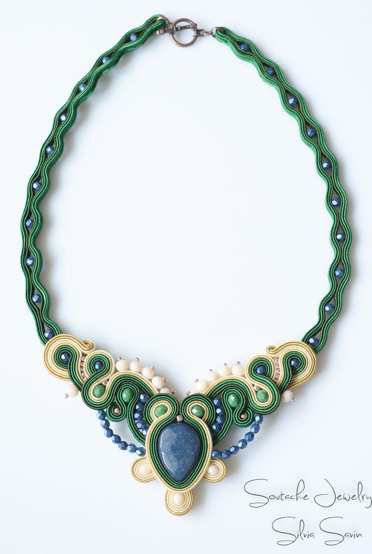 Green / Blue / Beige Handmade Soutache necklace