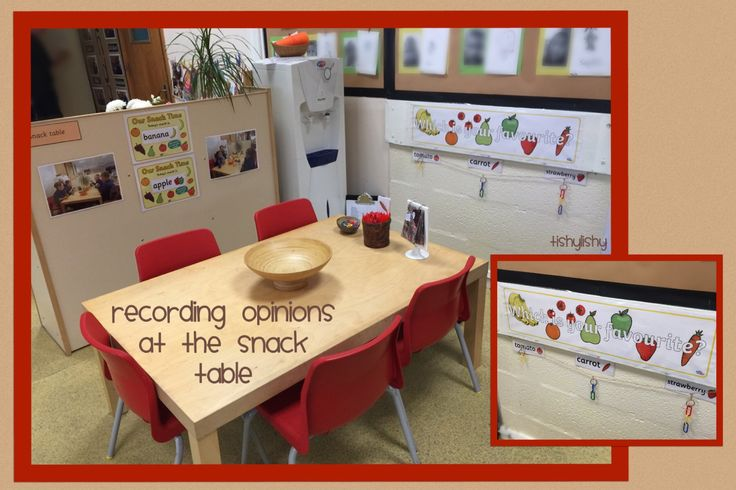 Recording opinions at the snack table. Three options with linking clips to indicate choice.