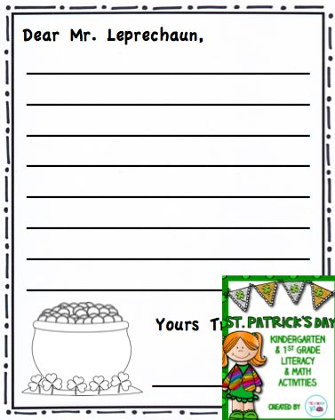 St. Patrick's Day Write a Letter to Mr. Leprechaun Writing Activity