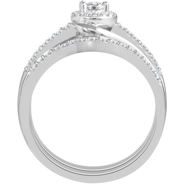 Womens 3/8 CT. T.W. White Diamond 10K Gold Bridal Set ($1,667) ❤ liked on Polyvore featuring jewelry, rings, white gold diamond rings, bridal gold jewellery, white gold diamond jewelry, yellow gold rings and gold jewelry