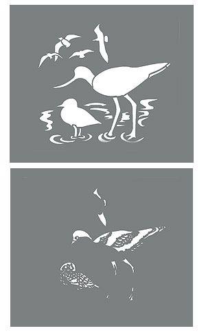 Coastal Birds Stencil 1 Avocet and Seagulls Stencil