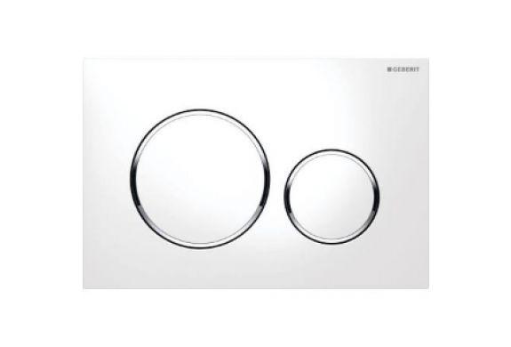 Geberit Sigma 20 bedieningsplaat kleuren:plaat-ring-knop, wit-chroom-wit - 115882KJ1