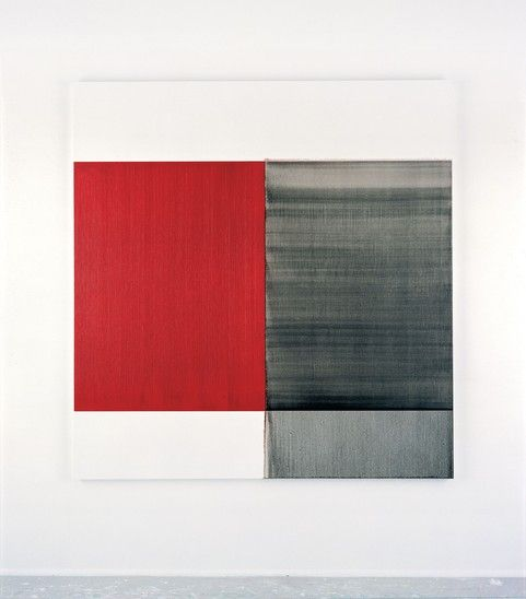 CALUM INNES  Exposed Painting, Scheveningen Black, Cadmium Deep Red (2004) - Callum Innes
