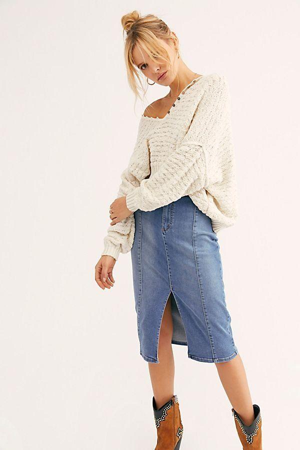 60b47852b27 Maddie Denim Midi Skirt - Denim Midi Skirt with Middle Slit - Denim Midi  Skirt with Slit - Denim Midi Skirts - Denim Skirts - Long Denim Skirts -  Boho Denim ...