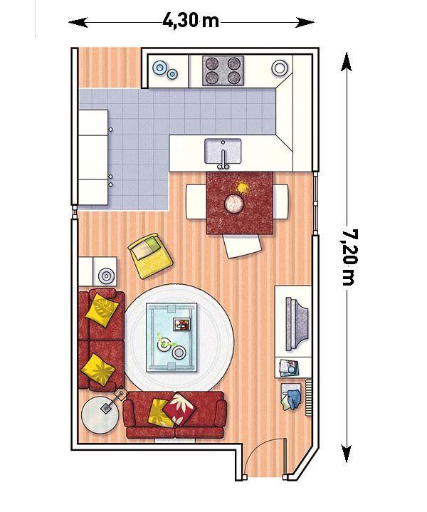 Ideas, con planos, para integrar la cocina en el salón
