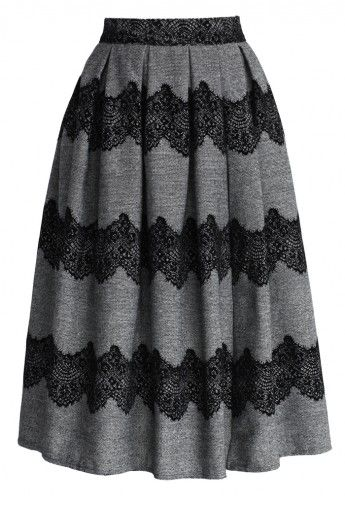 Grey and Lace Midi Skirt.