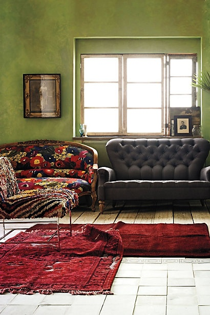 Amazing colors.: Blazing Poppies, Interior Design, Wall Colour, Anthropology, Couch, Green Walls, Amelie Sofa, Wall Color, Living Room