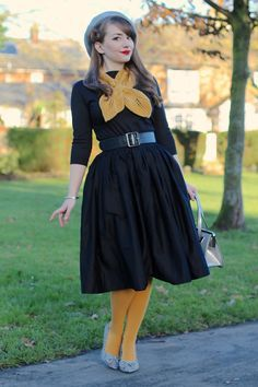 Autumnal vintage style outfit with check skirt, gold bardot top ...
