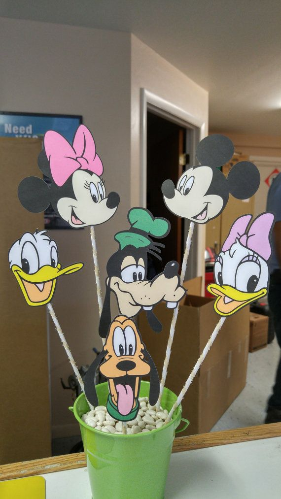 Mickey, Minnie, Donald, Goofy, Daisy, Pluto Centerpiece Disney Character Birthday Party