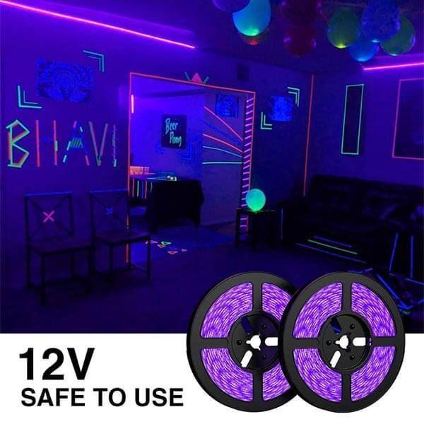 10m Uv Led Strip Schwarzlicht Led Streifen Fur Dekorationsbeleuchtung Party Onforude In 2020 Schwarzlicht Led Led Streifen Schwarzlicht