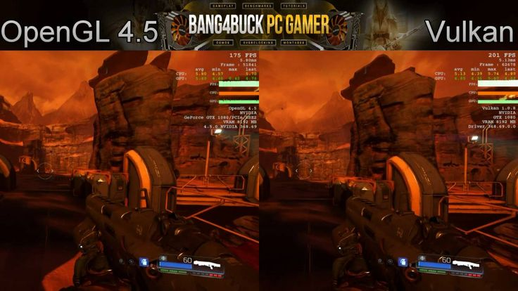Doom OpenGL 4.5 VS Vulkan Nightmare Settings 1080P   GTX 1080   i7 5960X...
