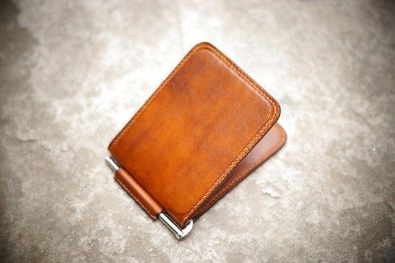 Minimalist Money Clip Wallet  Walnut by GMleathercraft on Etsy