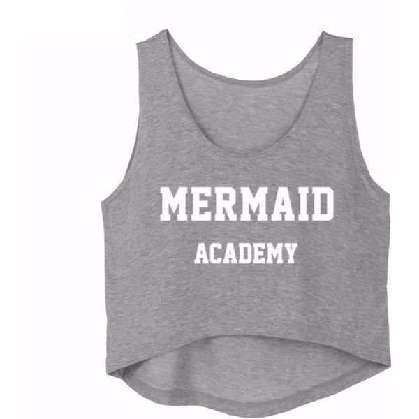 MERMAID ACADEMY LETTER PRINT CASUAL TANK TOP (£3.83) ❤ liked on Polyvore featuring tops, shirts, tanks, crop top, letter shirts, initial shirts and shirt top