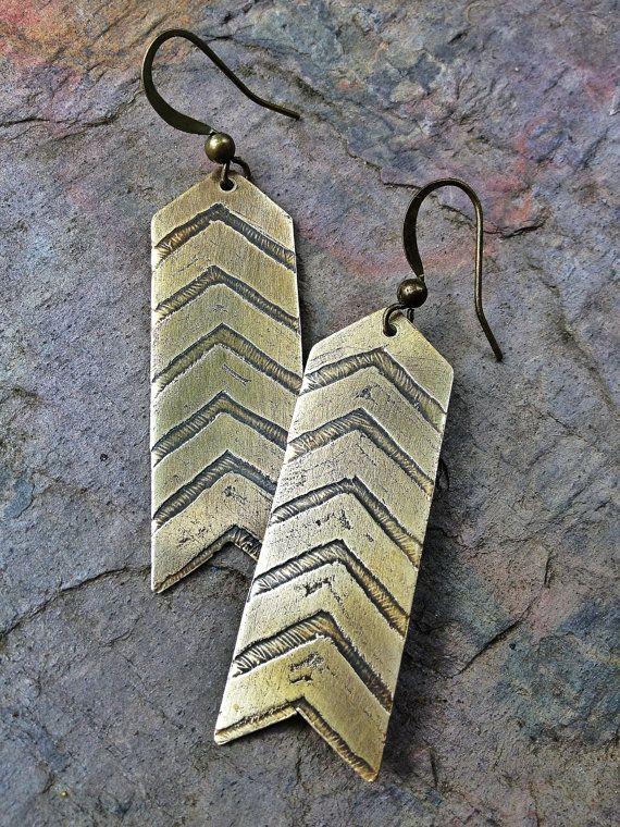 draw freehand with marker Arrow Jewelry / Arrow Earrings / Etched Metal Jewelry / Striped Earrings / Chevron Earrings