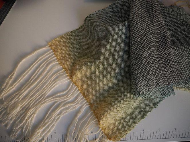 tkaný šál Rigid heddle loom woven scarf sock yarn