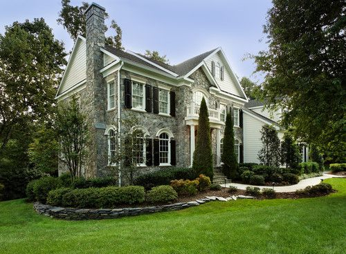 Exterior Home Renovations Before And After Colonial Design, Pictures, Remodel, Decor and Ideas - page 9: Ideas, Dream House, Front Yard, Traditional Exterior, Curb Appeal, Stone, Landscape, Garden, Design