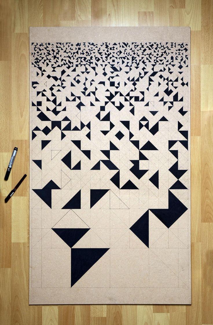 hard board / permanent marker Geomatric design - grafisch geometrisch patroon