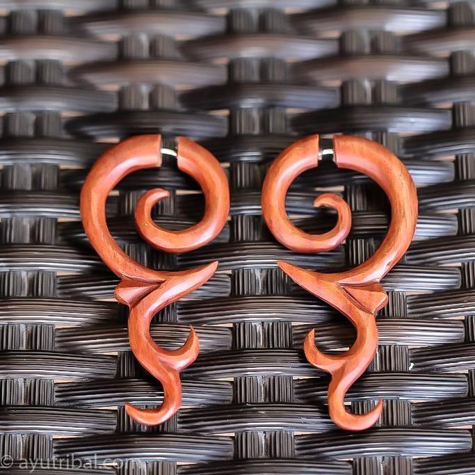 Fake Gauge Earrings, Saba Wood AC062