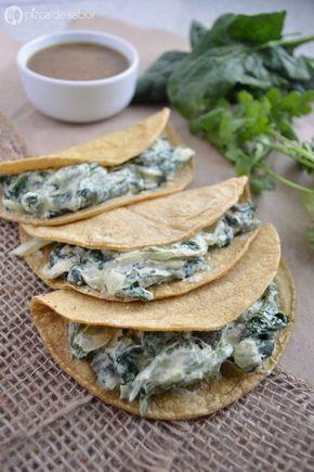 Tacos de requesón con poblano y espinaca www.pizcadesabor.com