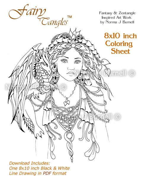 New Fairy-Tangles™ 8x10 Coloring Sheet - Fariy Queen of the Dragons - https://www.etsy.com/listing/186503274/fairy-queen-of-dragons-fairy-tangles?