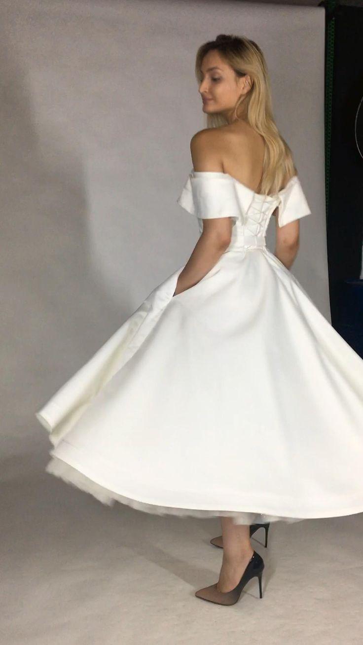 Tea Length Wedding Dress, Short Wedding Dress in 18   Wedding ...