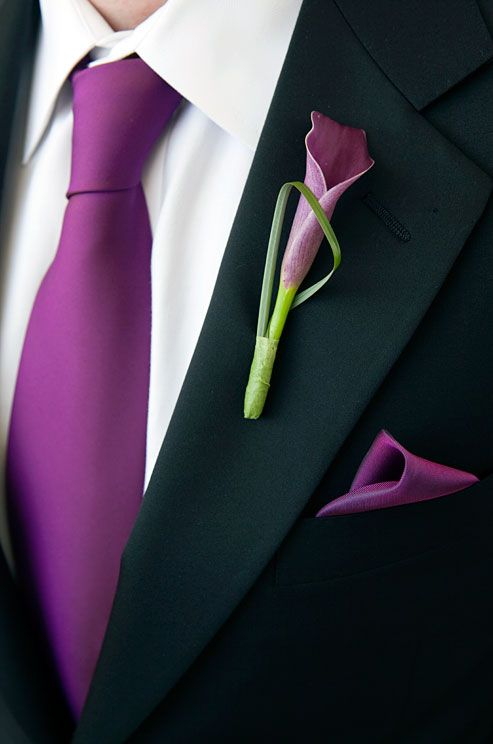 A purple calla lily becomes modern when accented with a thin architectural leaf in this groom's boutonniere.  Groom's attire.  Tuxedo