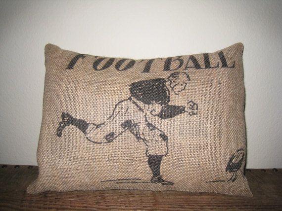 Vintage Football Burlap Pillow sports accent