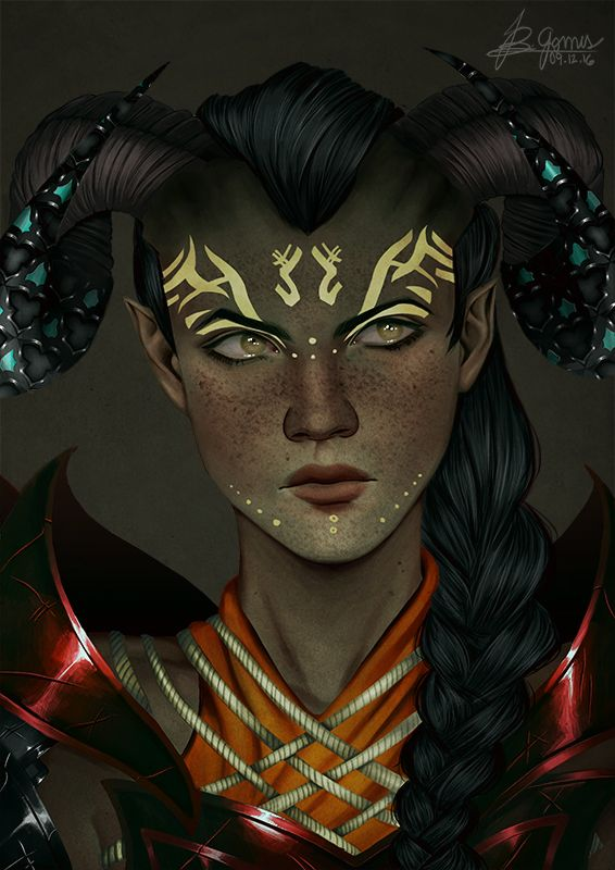 """ib-gomes: """" Commission for @filthyghoulkisser of her stunning qunari, Freya! It was so nice to paint her, so many details! Thank you so much for commissioning me, sweetie"""