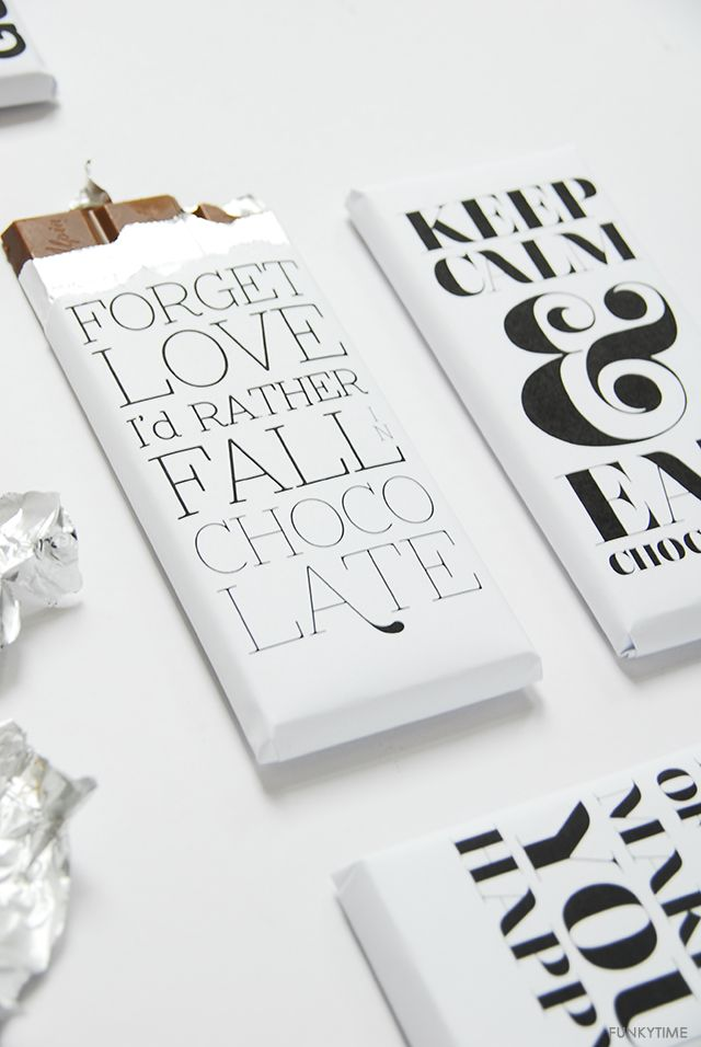 Printable typographic chocolate bar wrappers