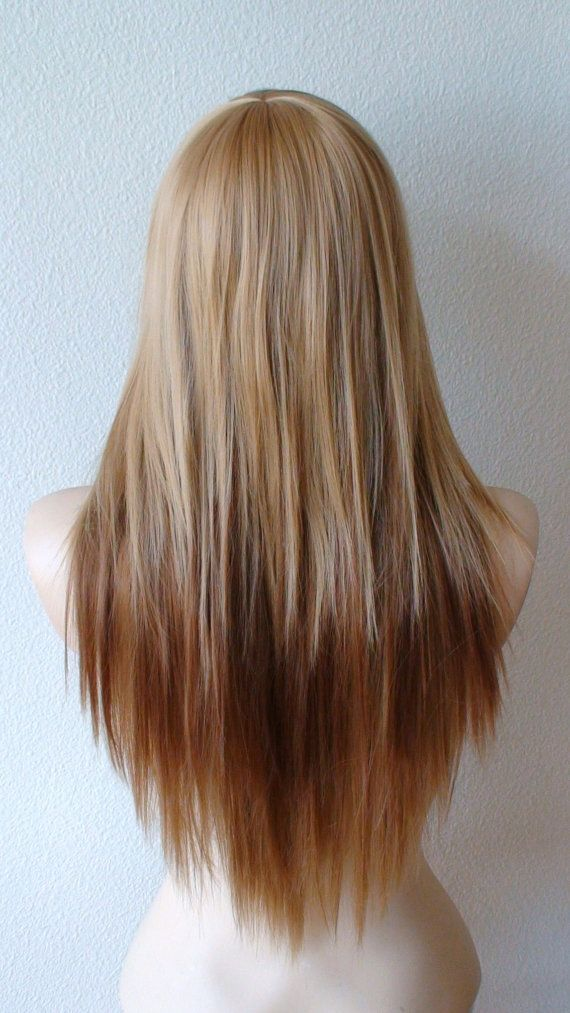 Golden blonde / Auburn Ombre Long straight layered by kekeshop
