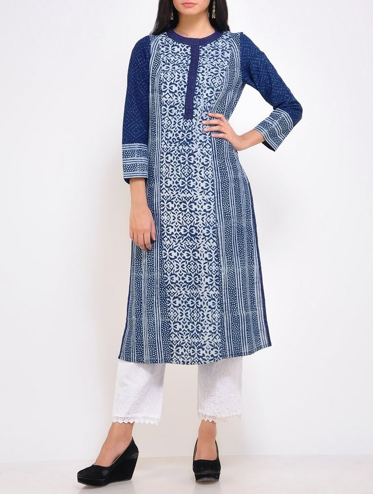 Buy Indigo Ivory Parallel Cotton Kurta Online at Jaypore.com