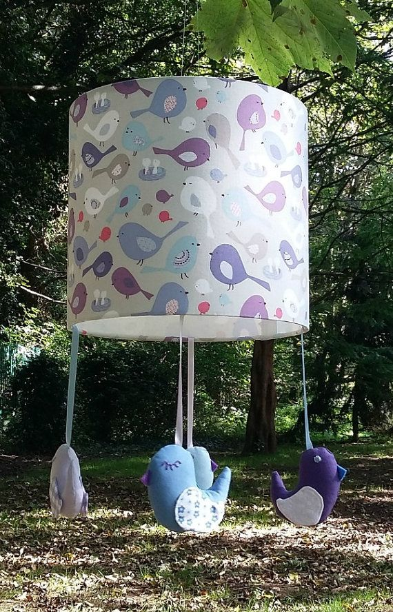 Bird nursery lampshade  Blue and purple room by mobilampshades