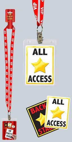 Show everyone you are a true VIP with their very own party VIP pass! Package includes one VIP Party Pass that has a red plastic neck cord with white letter