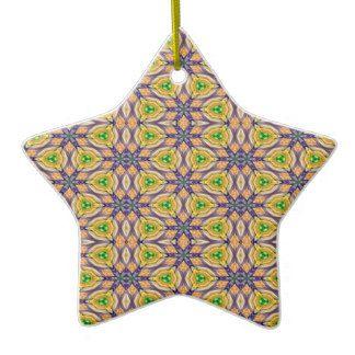 Purple, green and gold Mardi Gras Kaleidoscope 4506 Christmas Tree star shape Ornament