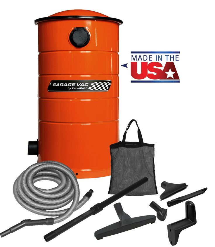 "VacuMaid GV30O Wall Mounted Garage and Car Vacuum with 30 ft hose and Tools. Includes 30' hose & hanger, caddy bag, telescopic wand, dusting brush, floor & crevice tools. Easy to change 7 gallon 5 layer HEPA style bag - No messy cans to empty or filters to clean. 5.1"" Ametek Lamb Motor for up to 25% more life than comparative brands. Powder-coated steel for corrosion resistant lifetime use. 5 yr residential warranty. This system mounts quickly and easily to the wall eliminating tipping over."